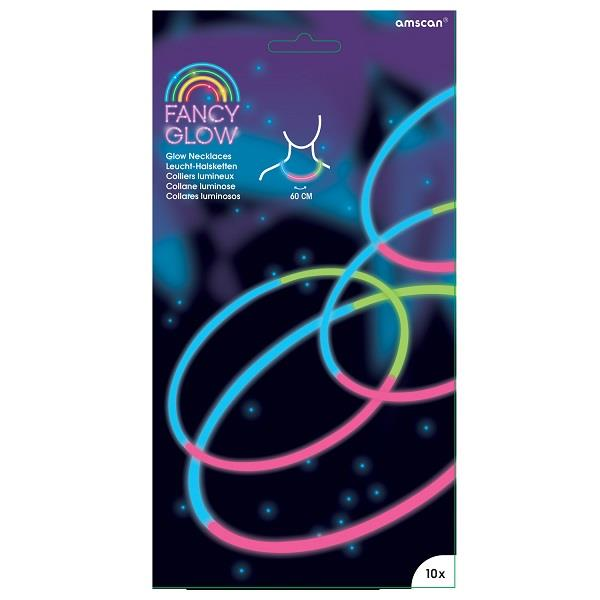 Fancy Glow Stick | Glow in the Dark Necklace 10 Pack Assorted Colours