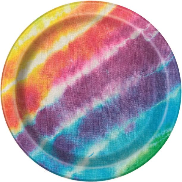Tie Dye 23cm Multicoloured Party Plates