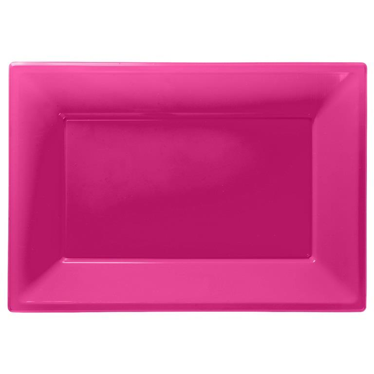 Hot Pink Plastic Party Serving Platter Plates