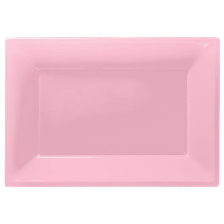 Baby Pink Plastic Party Serving Platter Plates