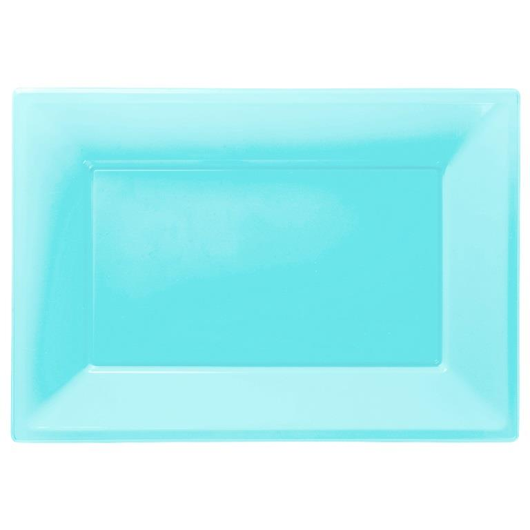 Caribbean | Teal Blue Plastic Party Serving Platter Plates
