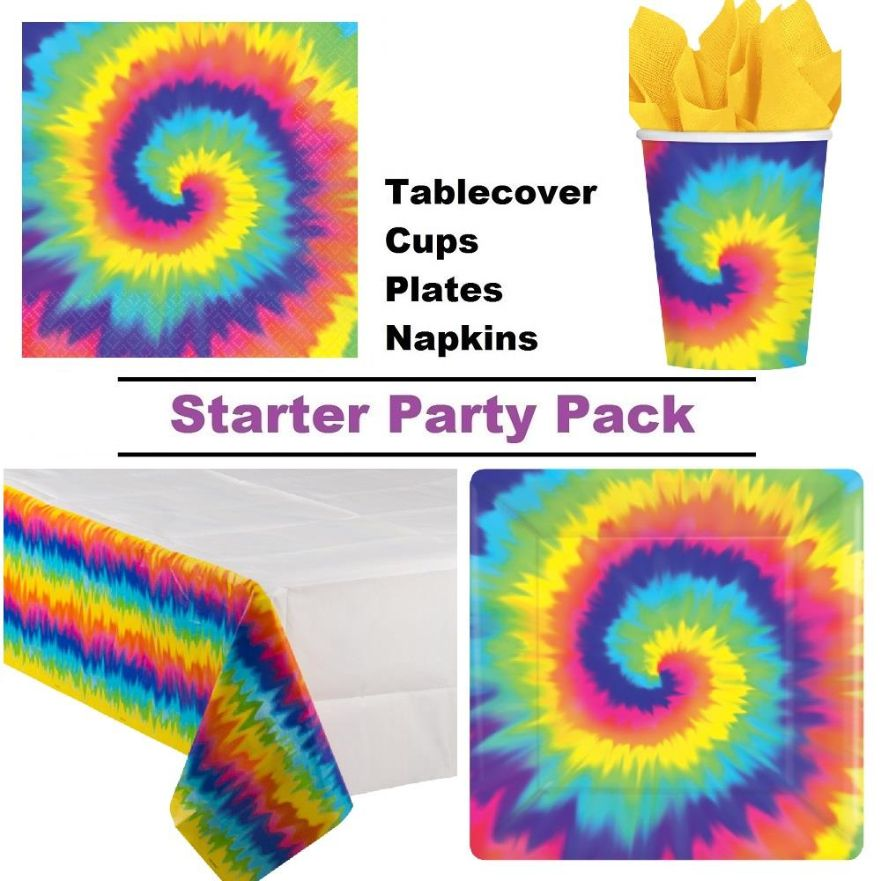 1960s Groovy | Hippie 8 to 48 Guest Starter Party Pack - Tablecover | Cups | Plates | Napkins
