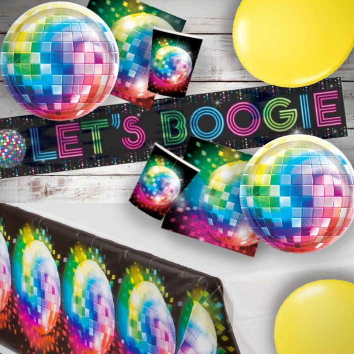 1970s Disco Fever 8 to 48 Guest Premium Party Pack - Tableware | Balloons | Decoration