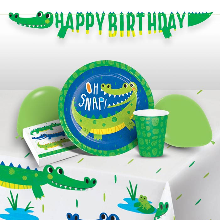 Alligator | Crocodile Party 8 to 48 Guest Premium Party Pack - Tableware | Balloons | Decoration