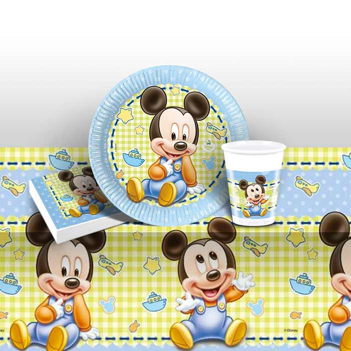 Baby Mickey Mouse Gingham 8 to 48 Guest Starter Party Pack - Tablecover | Cups | Plates | Napkins