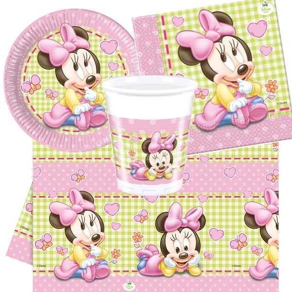Baby Minnie Mouse Gingham 8 to 48 Guest Starter Party Pack - Tablecover | Cups | Plates | Napkins