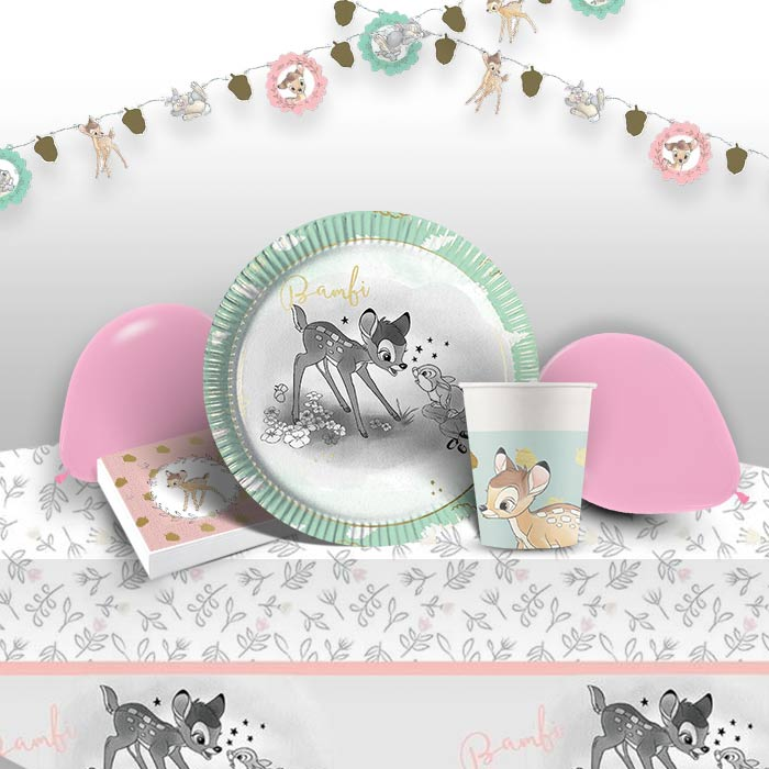 Bambi Cute 8 to 48 Guest Premium Party Pack - Tableware | Balloons | Decoration