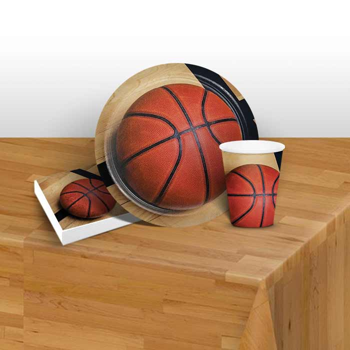 Basketball 8 to 48 Guest Starter Party Pack - Tablecover | Cups | Plates | Napkins