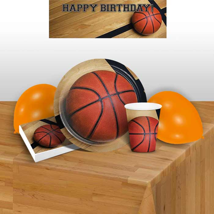 Basketball 8 to 48 Guest Premium Party Pack - Tableware | Balloons | Decoration