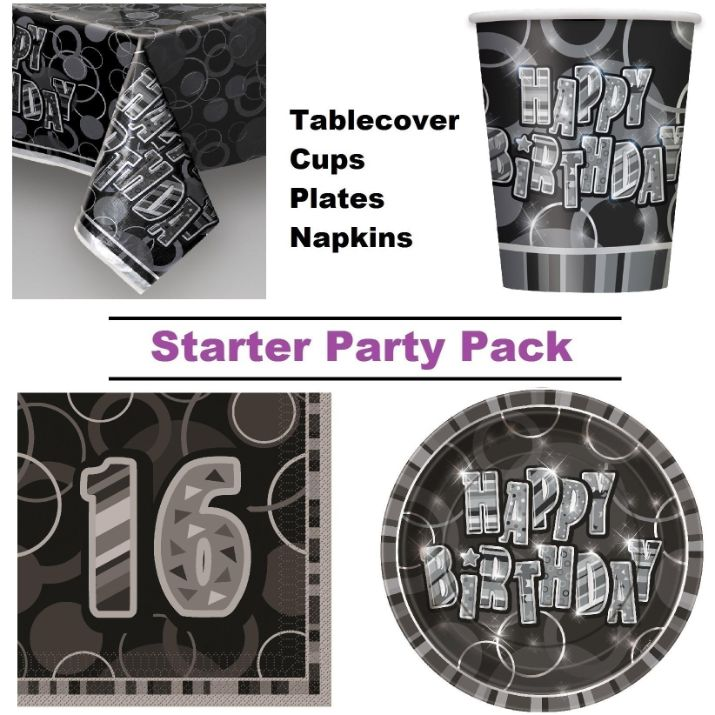 Black Glitz 16th Birthday 8 to 48 Guest Starter Party Pack - Tablecover | Cups | Plates | Napkins