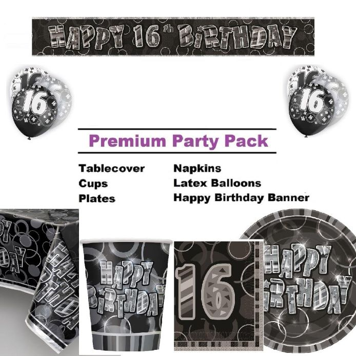 Black Glitz 16th Birthday 8 to 48 Guest Premium Party Pack - Tableware | Balloons | Decoration