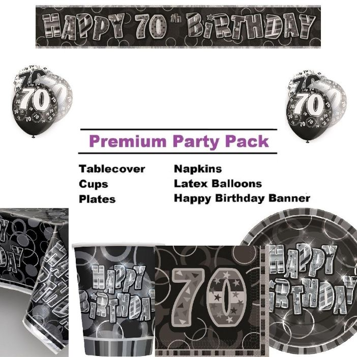 Black Glitz 70th Birthday 8 To 48 Guest Premium Party Pack
