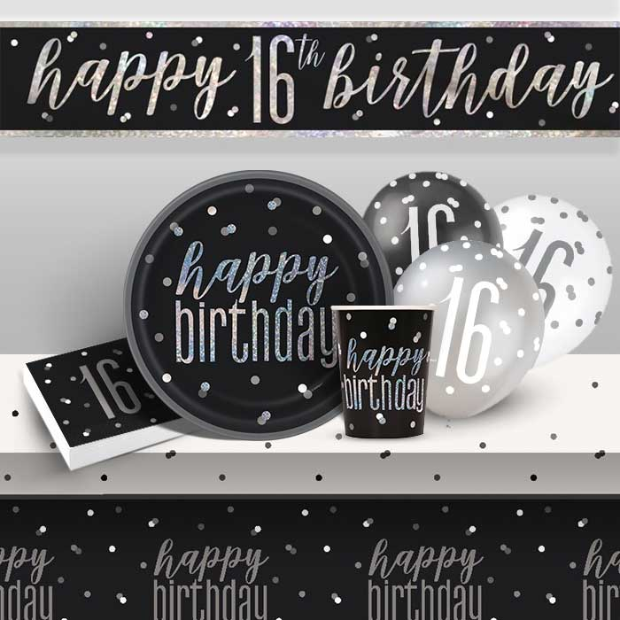 Black and Silver Holographic 16th Birthday 8 to 48 Guest Premium Party Pack - Tableware | Balloons | Decoration