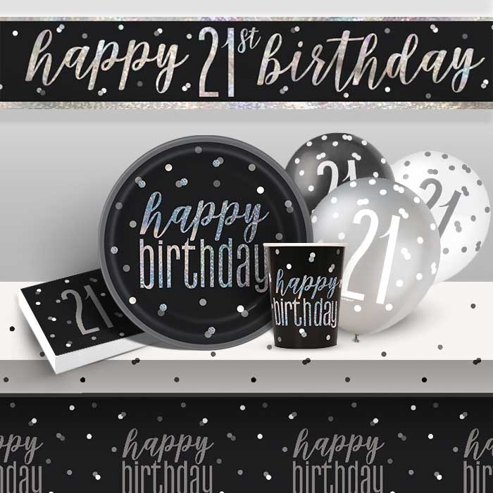 Black and Silver Holographic 21st Birthday 8 to 48 Guest Premium Party Pack - Tableware | Balloons | Decoration