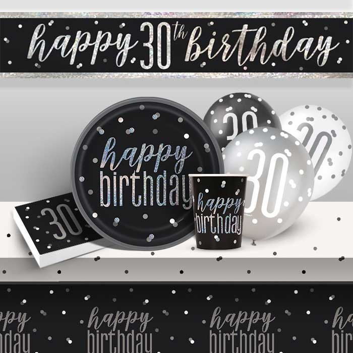 Black and Silver Holographic 30th Birthday 8 to 48 Guest Premium Party Pack - Tableware | Balloons | Decoration