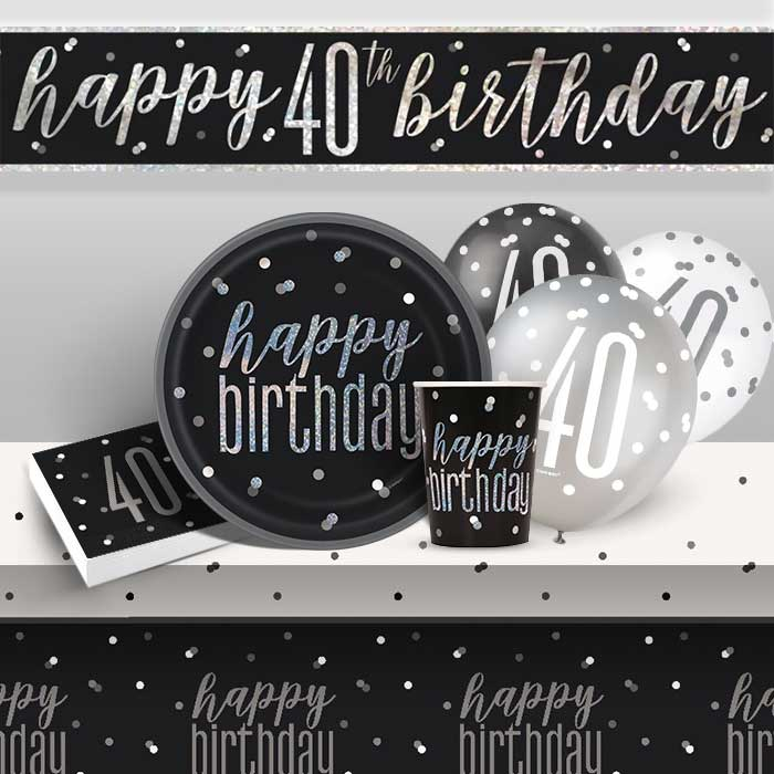 Black and Silver Holographic 40th Birthday 8 to 48 Guest Premium Party Pack - Tableware | Balloons | Decoration