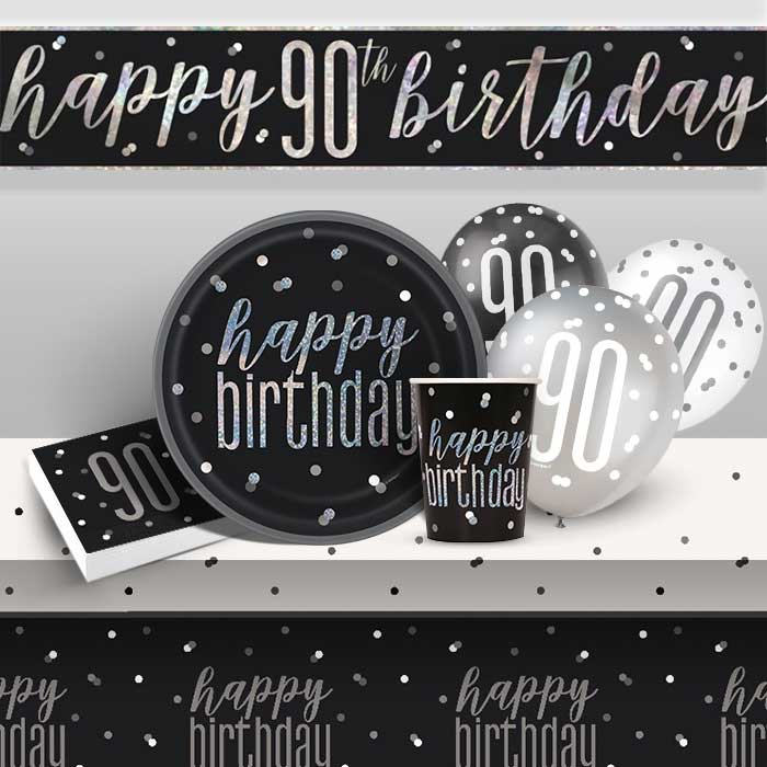 Black and Silver Holographic 90th Birthday 8 to 48 Guest Premium Party Pack - Tableware | Balloons | Decoration
