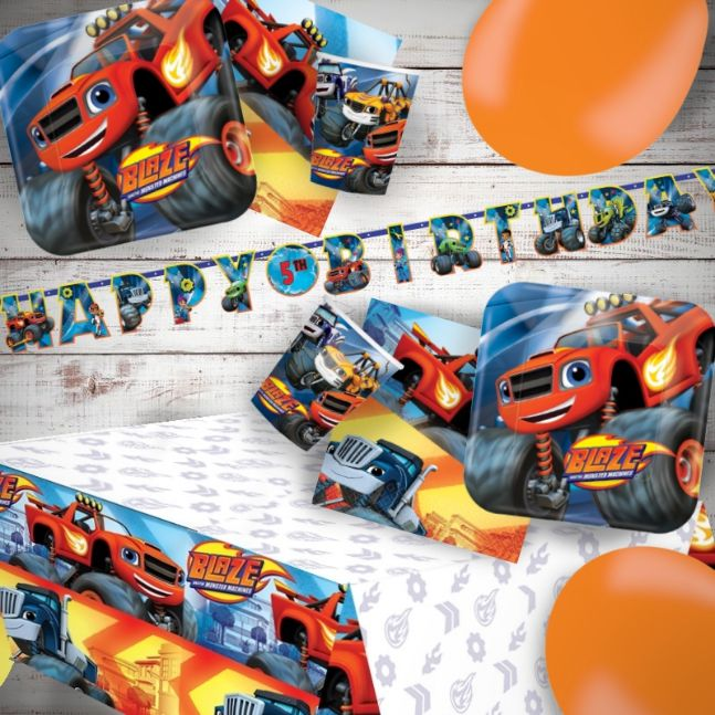Blaze and The Monster Machines 8 to 48 Guest Premium Party Pack - Tableware | Balloons | Decoration