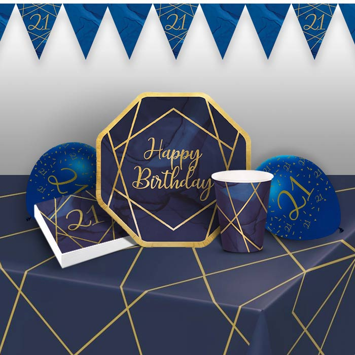 Blue and Gold Geode 21st Birthday 8 to 48 Guest Premium Party Pack - Tableware | Balloons | Decoration - Buy Online