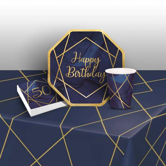 Blue and Gold Geode 50th Birthday 8 to 48 Guest Starter Party Pack - Tablecover | Cups | Plates | Napkins - Buy Online