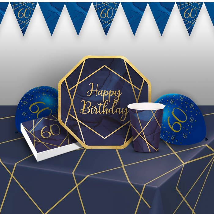 Blue and Gold Geode 60th Birthday 8 to 48 Guest Premium Party Pack - Tableware | Balloons | Decoration - Buy Online