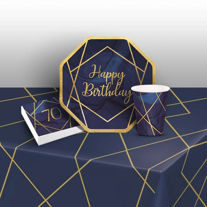 Blue and Gold Geode 70th Birthday 8 to 48 Guest Starter Party Pack - Tablecover | Cups | Plates | Napkins - Buy Online