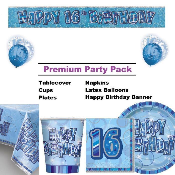 Blue Glitz 16th Birthday Party Supplies
