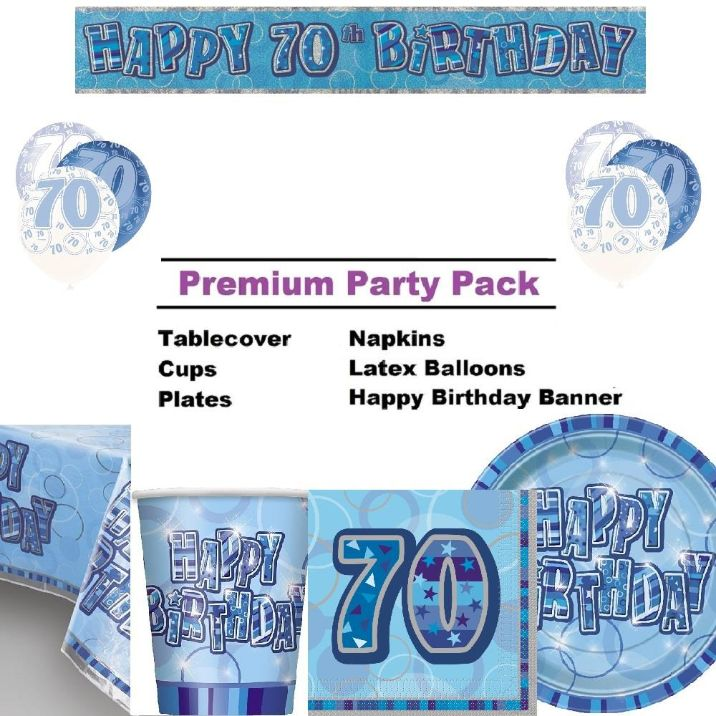 Blue Glitz 70th Birthday 8 To 48 Guest Premium Party Pack