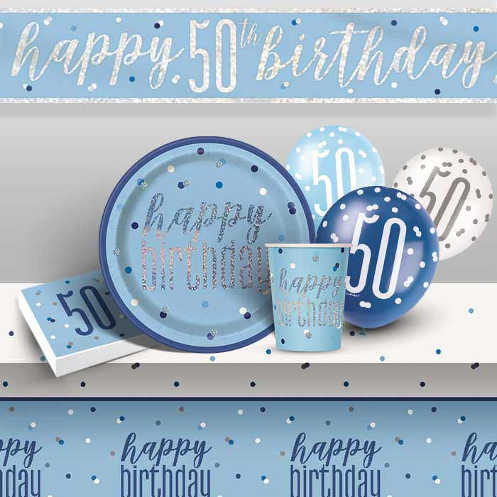 Blue and Silver Holographic 50th Birthday 8 to 48 Guest Premium Party Pack - Tableware | Balloons | Decoration