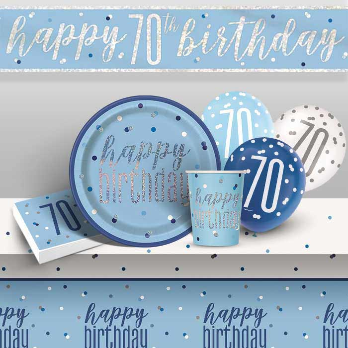 Blue and Silver Holographic 70th Birthday 8 to 48 Guest Premium Party Pack - Tableware | Balloons | Decoration