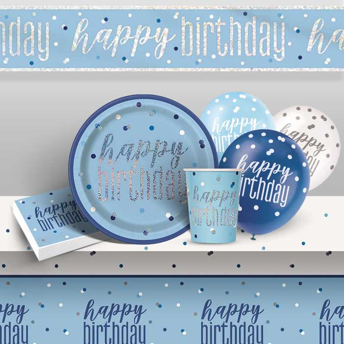 Blue Happy Birthday Hanging Decoration Glitz Birthday