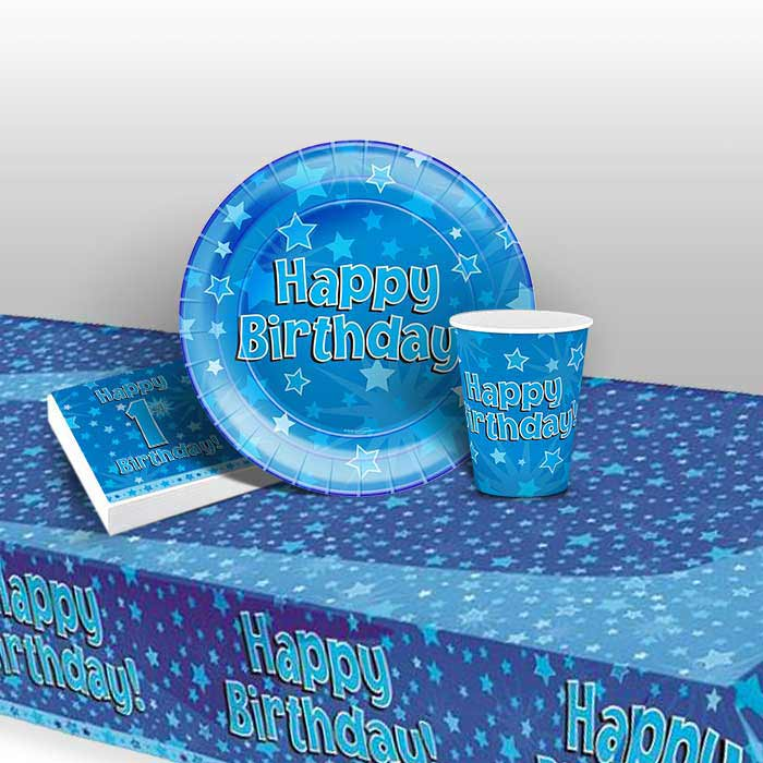 Blue Star Happy 1st Birthday 8 to 48 Guest Starter Party Pack - Tablecover | Cups | Plates | Napkins