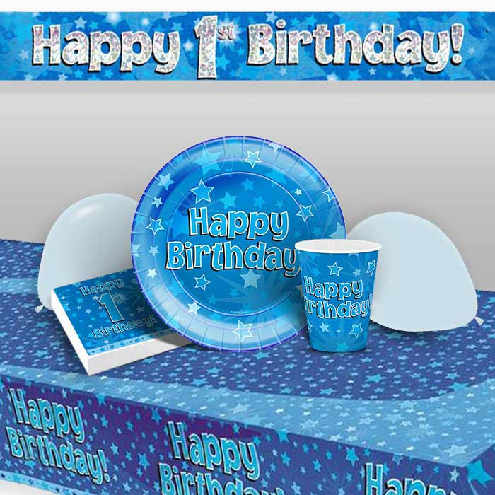 Blue Star Happy 1st Birthday 8 to 48 Guest Premium Party Pack - Tableware | Balloons | Decoration