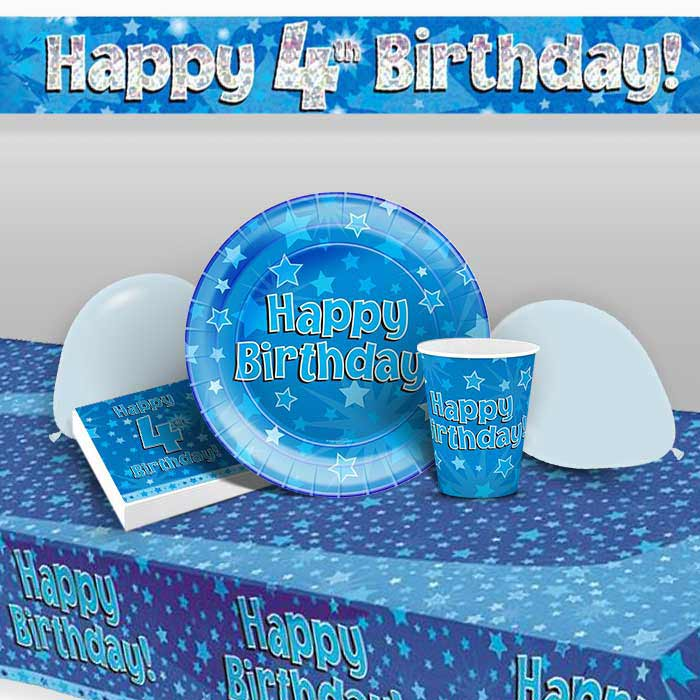 Blue Star Happy 4th Birthday 8 To 48 Guest Premium Party Pack
