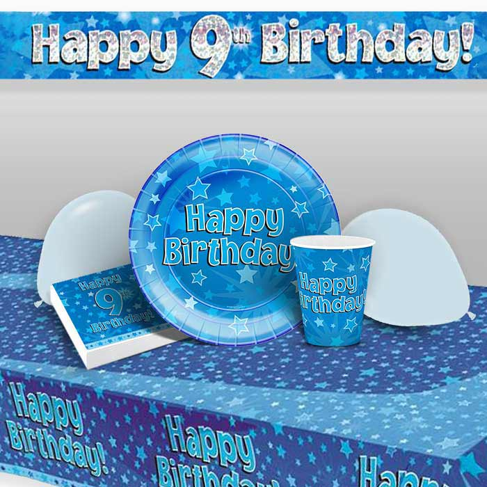 Blue Star Happy 9th Birthday 8 To 48 Guest Premium Party Pack