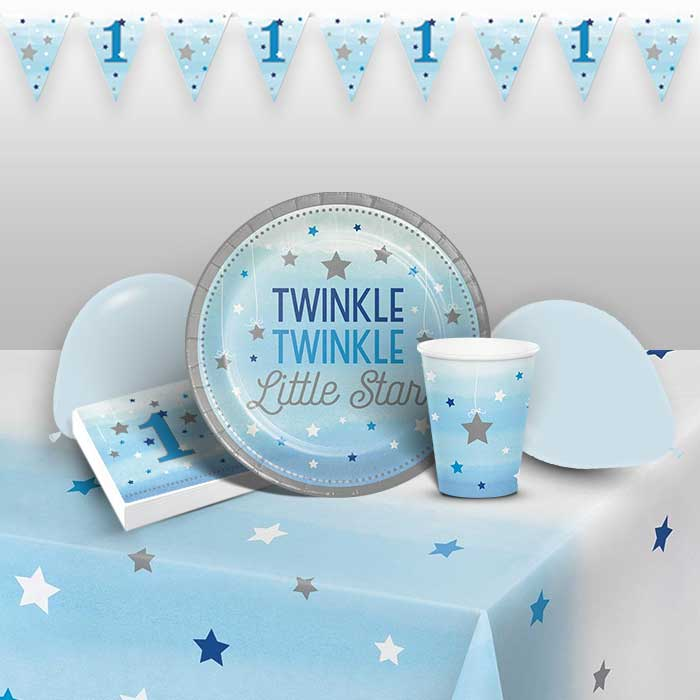 Blue Twinkle Star 1st Birthday 8 to 48 Guest Premium Party Pack - Tableware | Balloons | Decoration