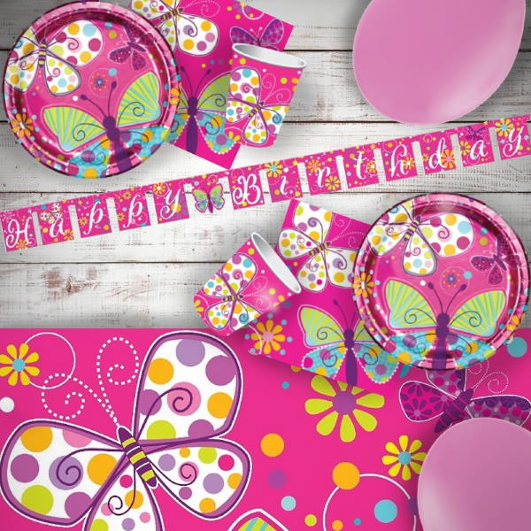 Butterfly Sparkle 8 to 48 Guest Premium Party Pack - Tableware | Balloons | Decoration