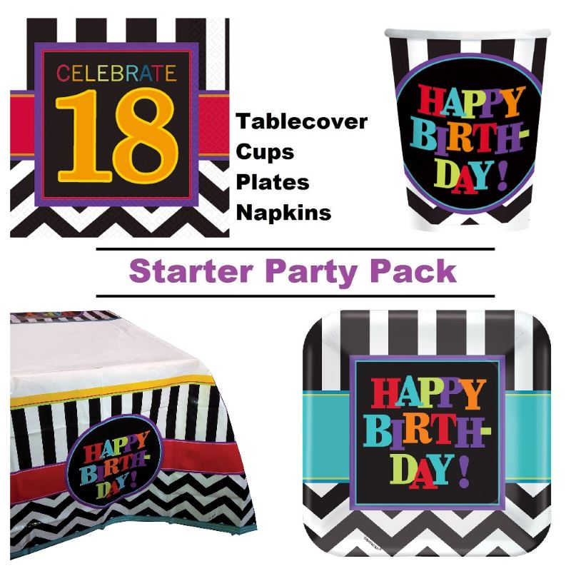 Chevron 18th Birthday 8 to 48 Guest Starter Party Pack - Tablecover | Cups | Plates | Napkins