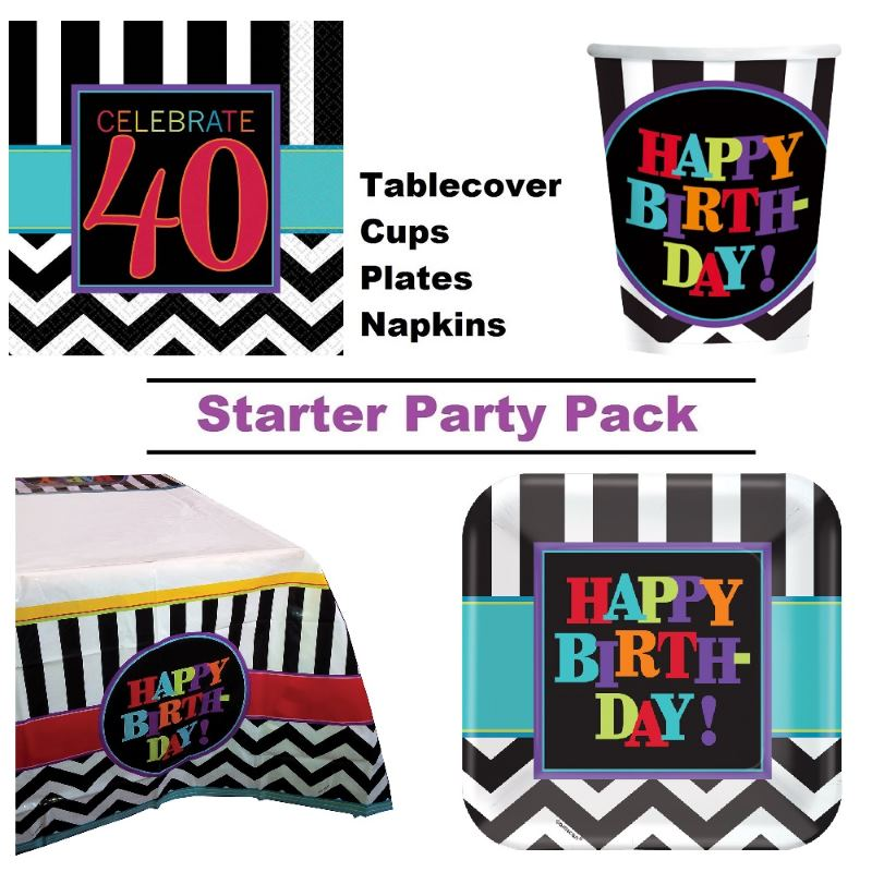 Chevron 40th Birthday 8 To 48 Guest Starter Party Pack