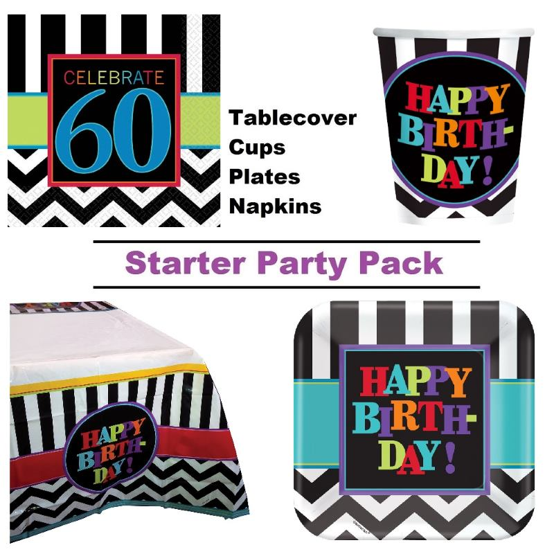 Chevron 60th Birthday 8 to 48 Guest Starter Party Pack - Tablecover | Cups | Plates | Napkins