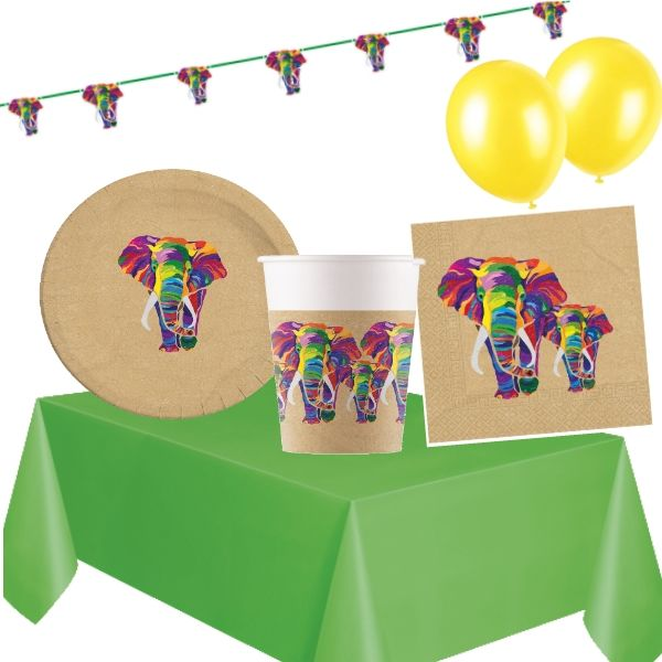 Colourful Elephants 8 to 48 Guest Premium Party Pack - Tableware | Balloons | Decoration
