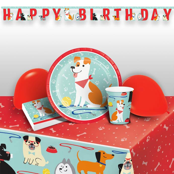 Dog 8 to 48 Guest Premium Party Pack - Tableware | Balloons | Decoration