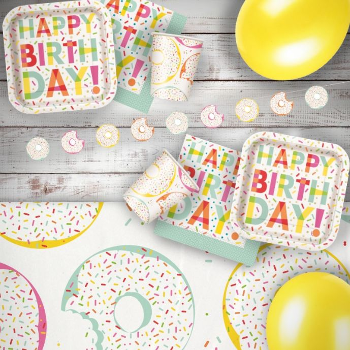 Doughnut | Donut Sprinkles 8 to 48 Guest Premium Party Pack - Tableware | Balloons | Decoration