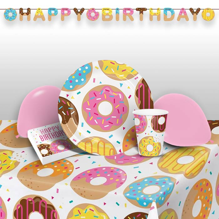 Doughnut Time Party 8 to 48 Guest Premium Party Pack - Tableware | Balloons | Decoration