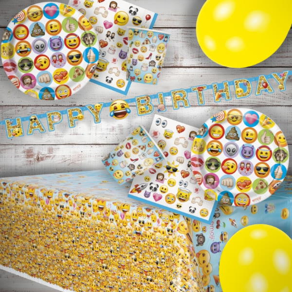 Emoji Icon 8 to 48 Guest Premium Party Pack - Tableware | Balloons | Decoration