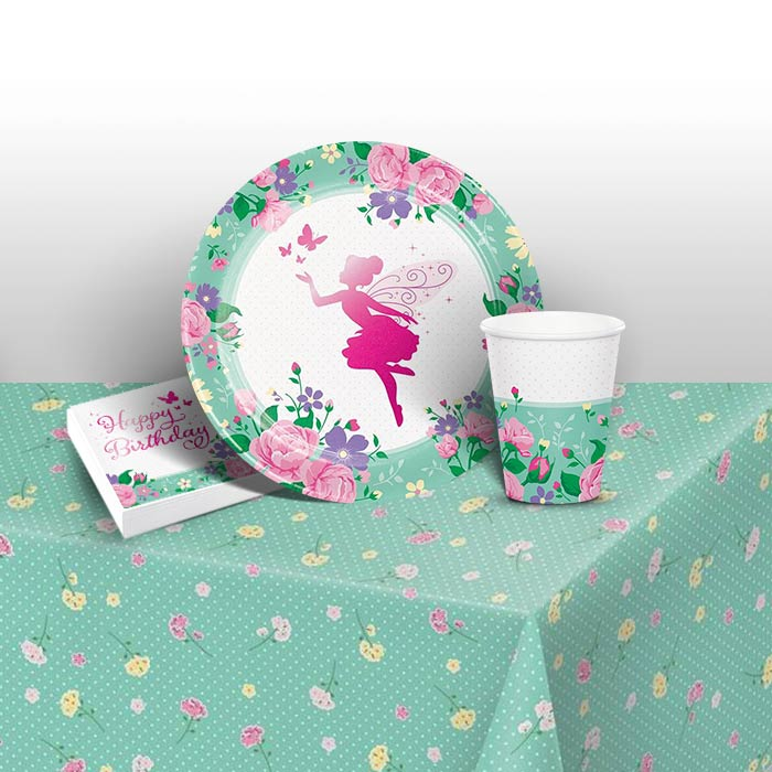 Floral Fairy Sparkle 8 to 48 Guest Starter Party Pack - Tablecover | Cups | Plates | Napkins