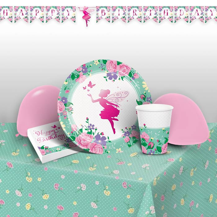 Floral Fairy Sparkle 8 to 48 Guest Premium Party Pack - Tableware | Balloons | Decoration