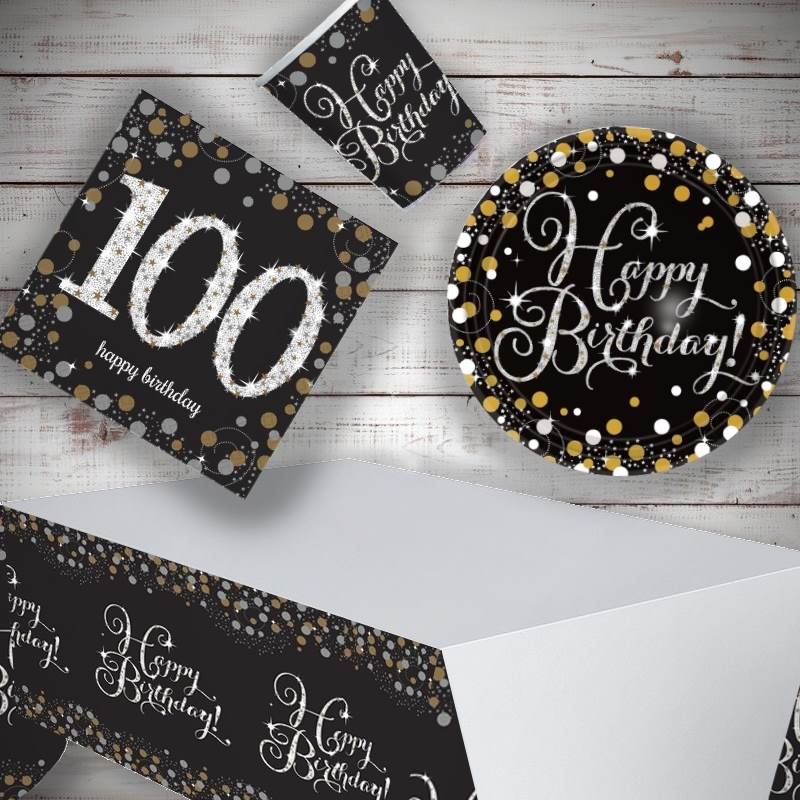 Gold Sparkling 100th Birthday 8 to 48 Guest Starter Party Pack - Tablecover | Cups | Plates | Napkins