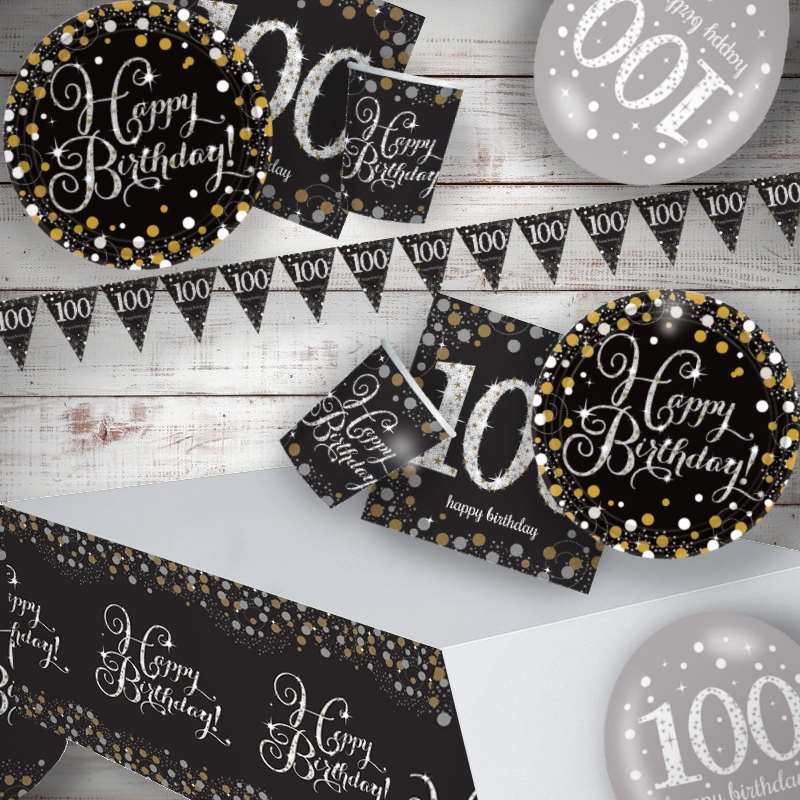 Gold Sparkling 100th Birthday 8 to 48 Guest Premium Party Pack - Tableware | Balloons | Decoration