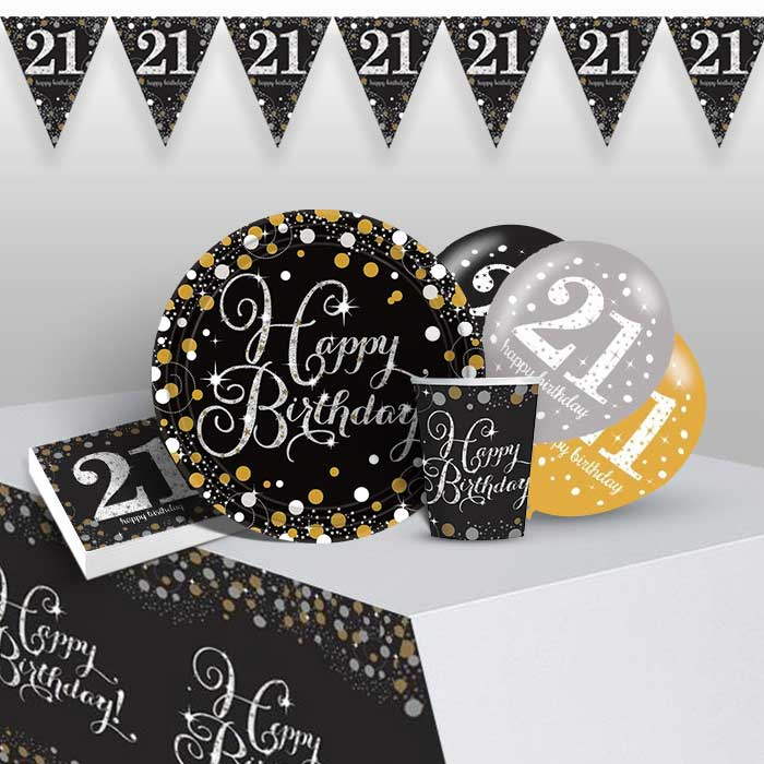 Gold Sparkling 21st Birthday 8 to 48 Guest Premium Party Pack - Tableware | Balloons | Decoration